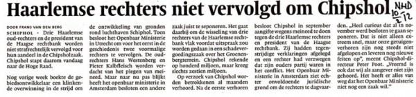 Haarlemse rechters niet vervolgd om Chipshol