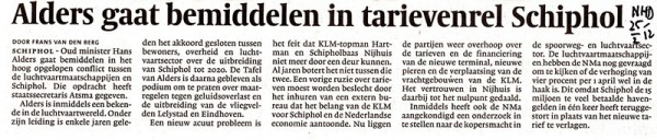 Alders gaat bemiddelen in tarievenrel Schiphol