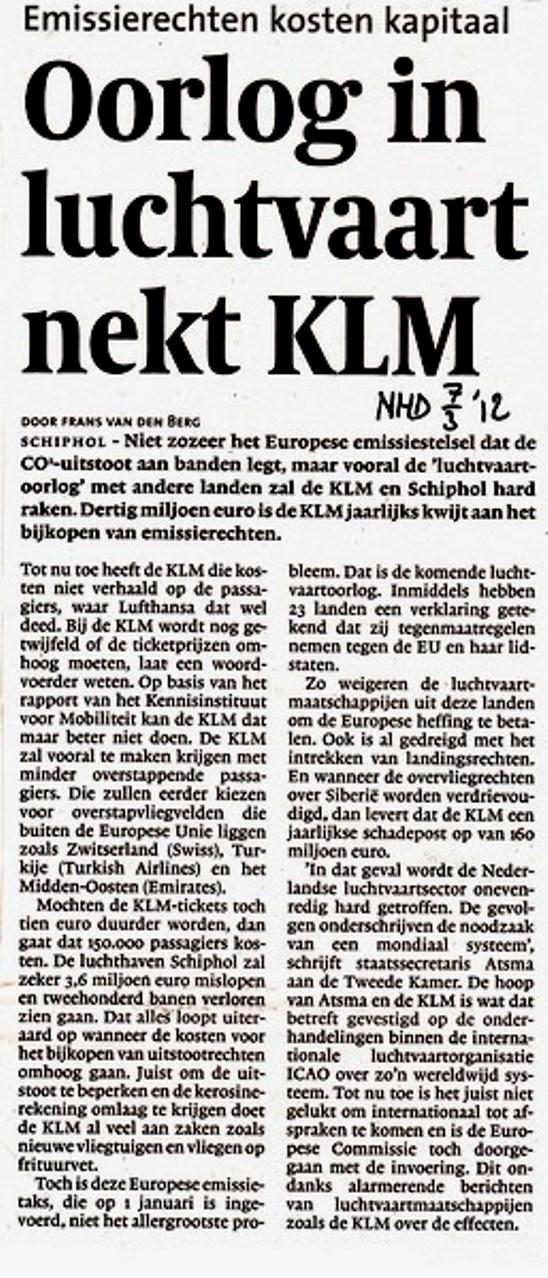 Oorlog in luchtvaart nekt KLM