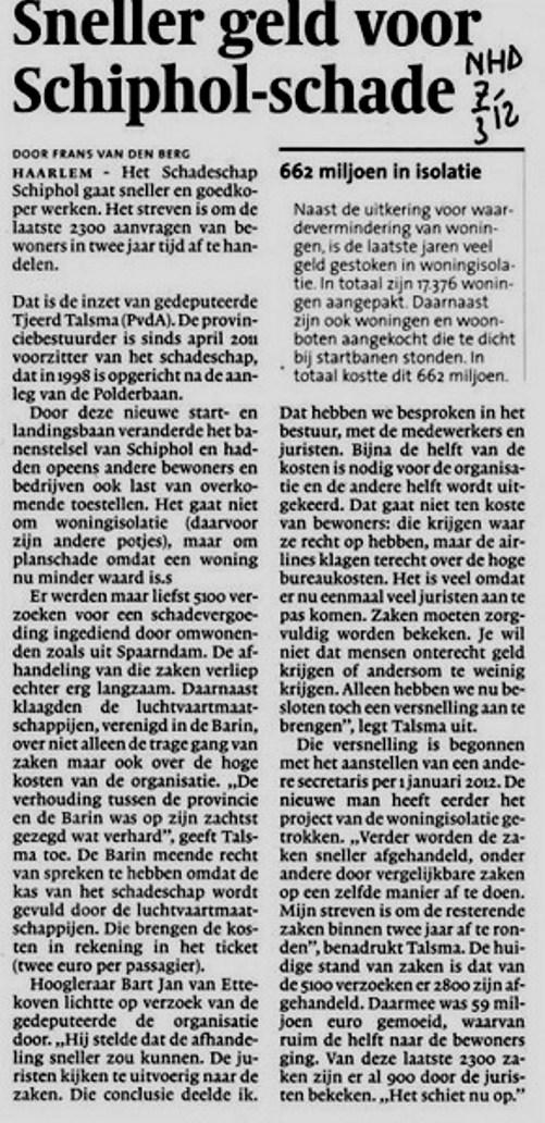 Sneller geld voor Schiphol-schade