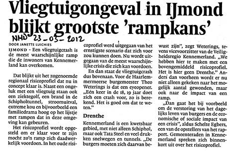 Vliegtuigongeval in IJmond blijkt grootste rampkans