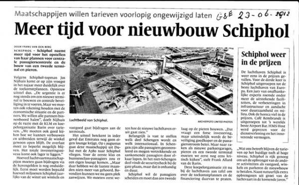 Meer tijd voor nieuwbouw Schiphol