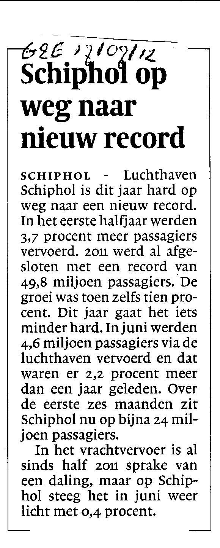 Schiphol op weg naar nieuw record