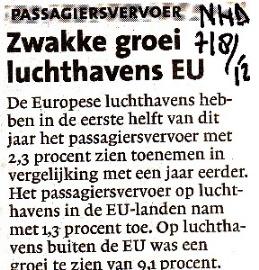 Zwakke groei luchthavens EU