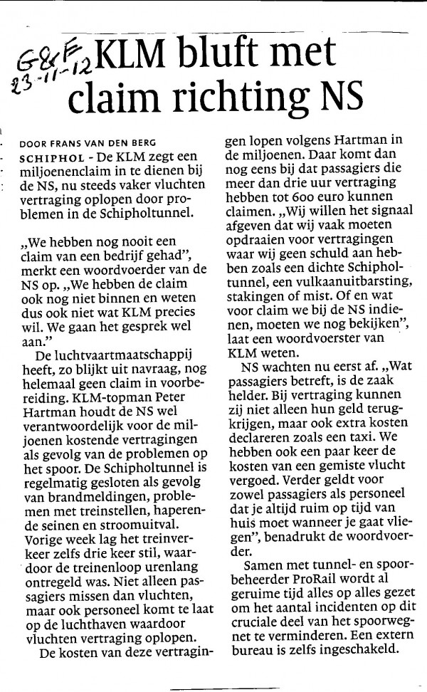 KLM bluft met claim richting NS
