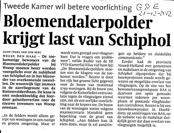 Bloemendalerpolder krijgt last van Schiphol