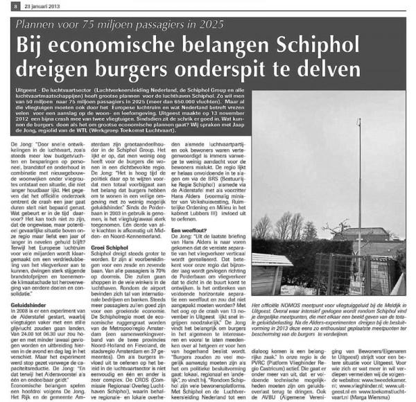 Bij economische belangen Schiphol dreigen bewoners het onderspit te delven