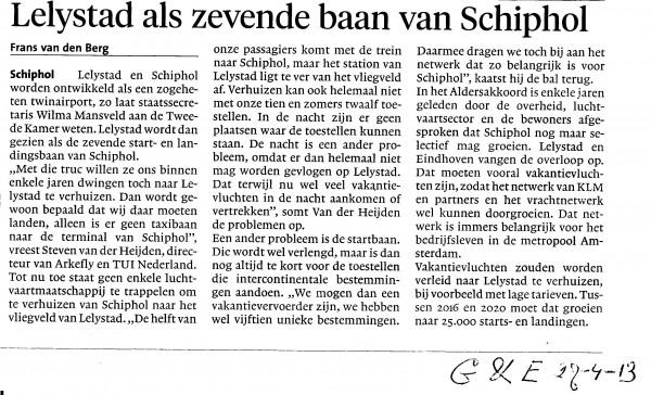 Lelystad als zevende baan van Schiphol
