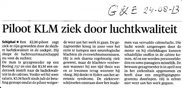 Piloot KLM ziek door luchtkwaliteit