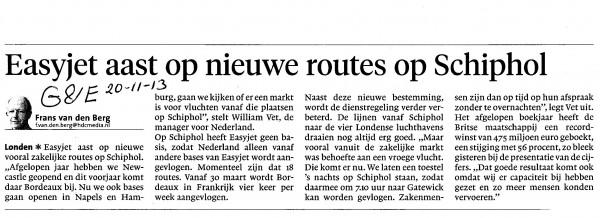 Easyjet aast op nieuwe routes op Schiphol