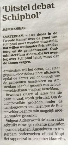 UItstel debat Schiphol