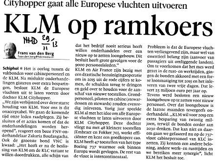 KLM op ramkoers