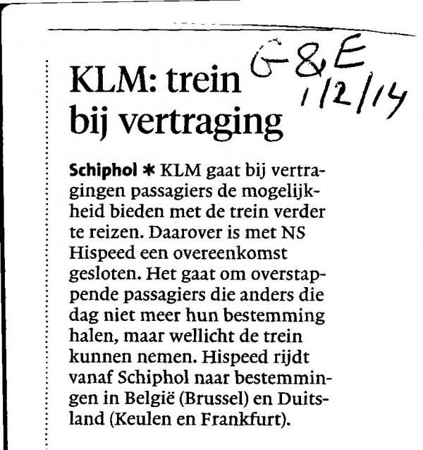 KLM: trein bij vertraging