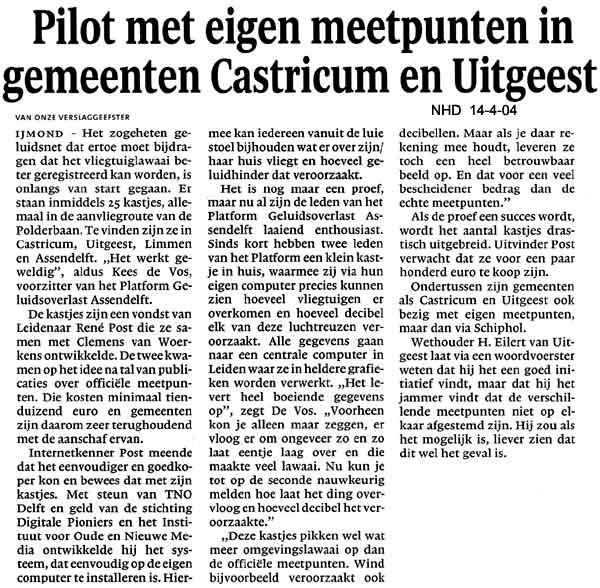Pilot met eigen meetpunten in gemeenten Castricum en Uitgeest