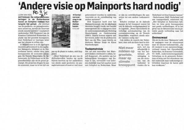 Andere visie op mainports hard nodig