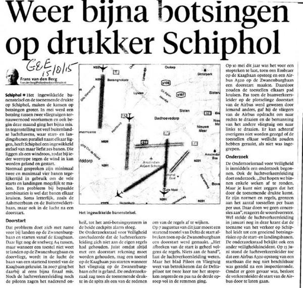 Weer bijna botsingen op drukker Schiphol