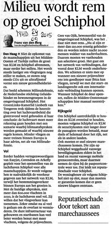 Milieu wordt rem op groei Schiphol