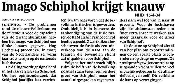 Imago Schiphol krijgt knauw
