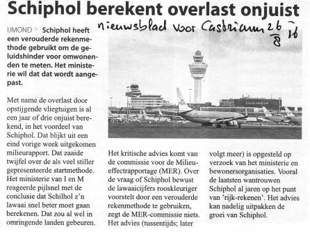 Schiphol berekent overlast onjuist