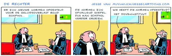 Cartoon De Rechter over geluidsoverlast Schiphol