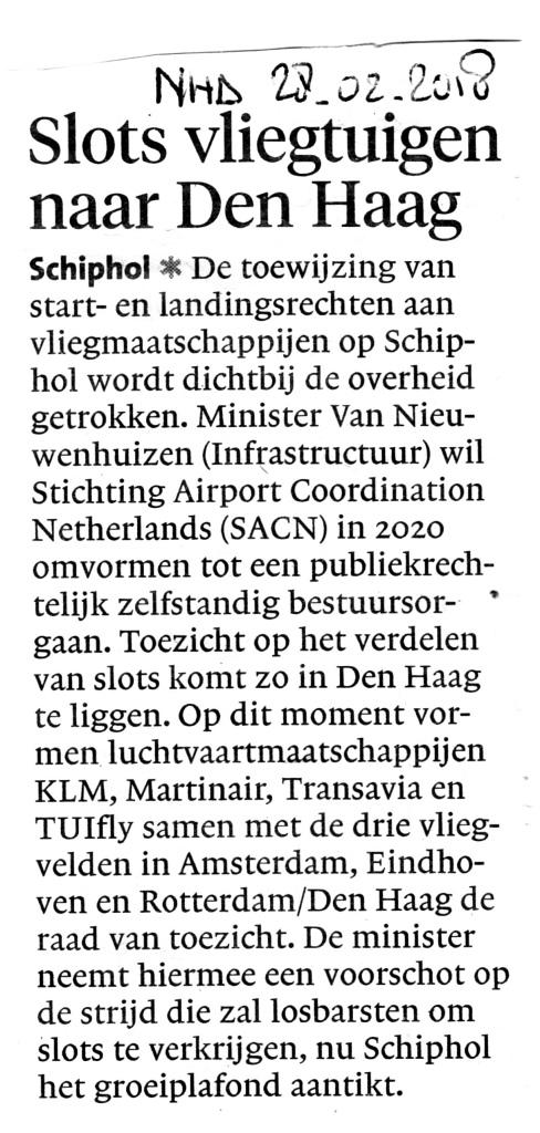 Slots vliegtuigen naar Den Haag