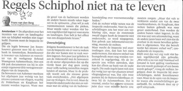 Regels Schiphol niet na te leven