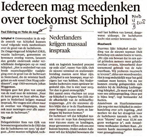 Iedereen mag meedenken over toekomst Schiphol