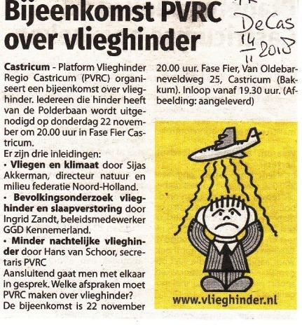 Bijeenkomst PVRC over vlieghinder