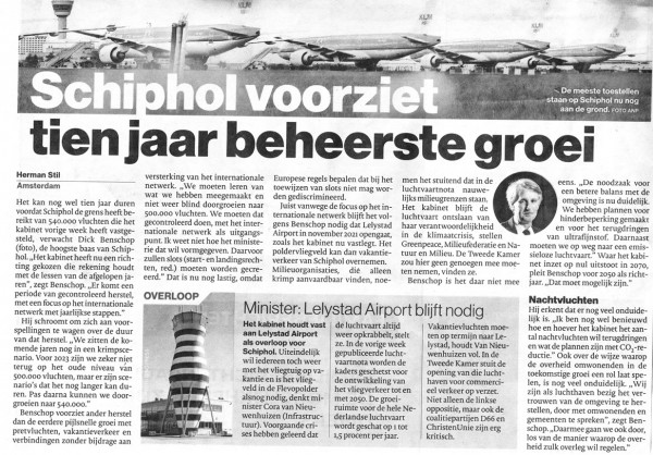 Schiphol voorziet tien jaar beheerste groei
