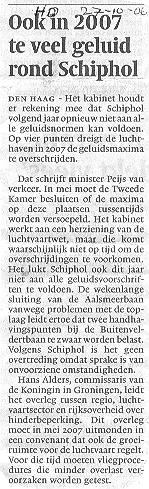 Ook in 2007 te veel geluid rond Schiphol
