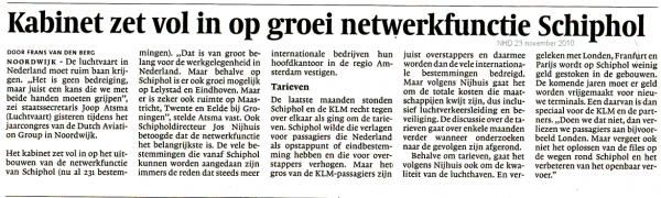Kabinet zet vol in op groei netwerkfunctie Schiphol