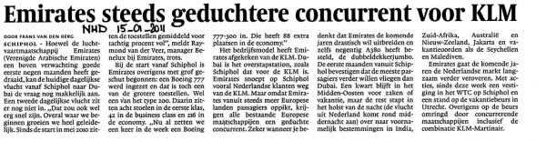 Emirates steeds geduchtere concurrent voor KLM