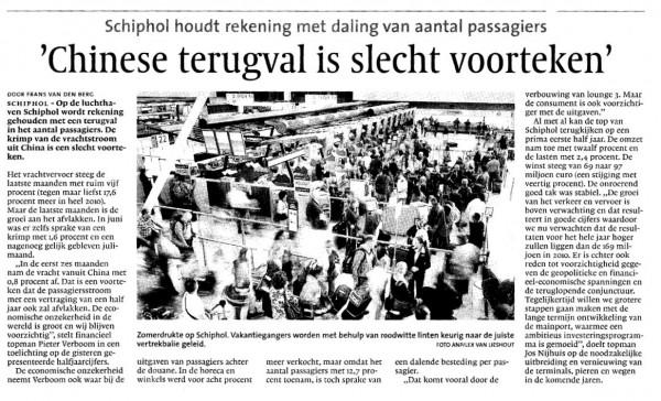 'Chinese terugval is slecht voorteken'Schiphol houdt rekening met daling van aantal passagi
