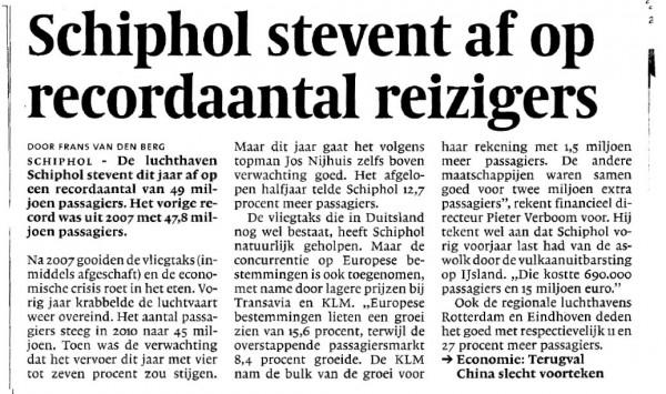 Schiphol stevent af op record aantal reizigers