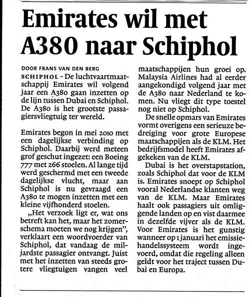 Emirates wil met A380 naar Schiphol