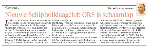 Nieuwe Schipholklaagclub ORS is schaamlap