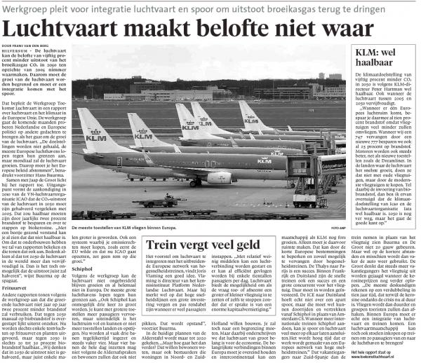 Luchtvaart maakt belofte niet waar (volledig artikel uit de krant)