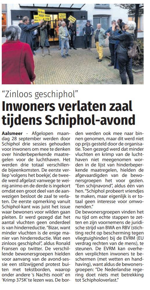 Inwoners verlaten zaal tijdens Schiphol-avond