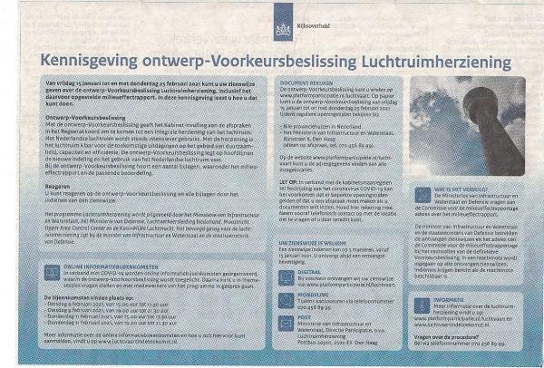 Kennisgeving ontwerp-Voorkeursbeslissing Luchtruimherziening