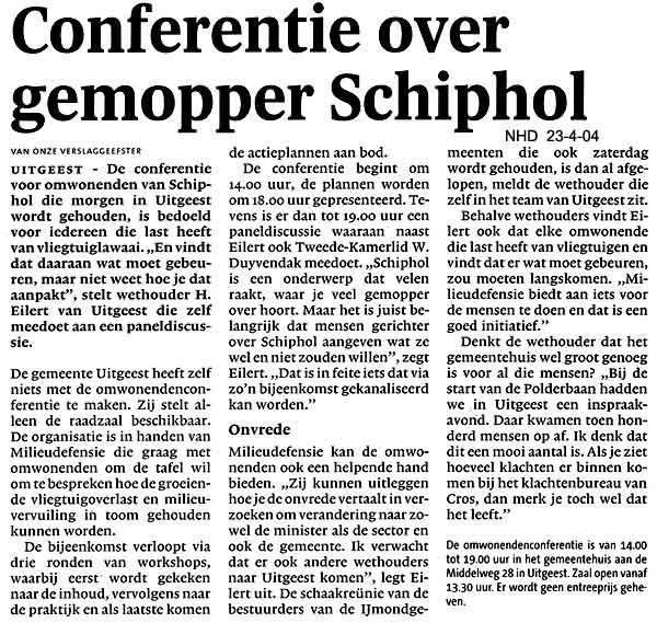 Conferentie over gemopper Schiphol
