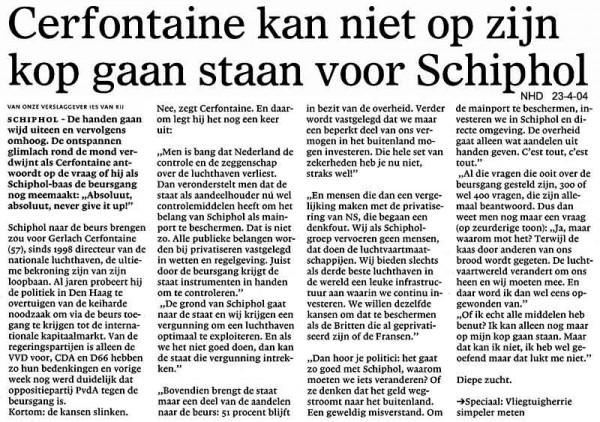 Cerfontaine kan niet op zijn kop gaan staan voor Schiphol