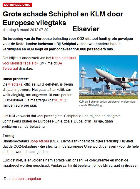 Grote schade Schiphol en KLM door Europese vliegtaks