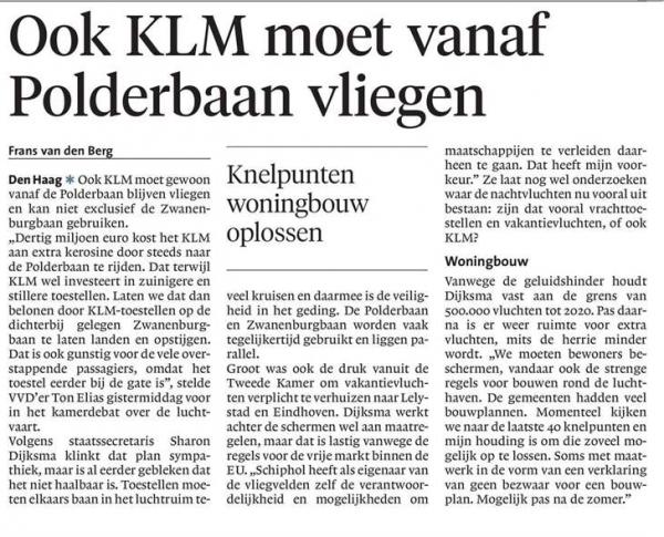 Ook KLM moet vanaf Polderbaan vliegen