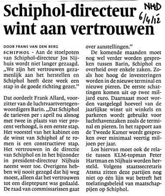 Schiphol-directeur wint aan vertrouwen