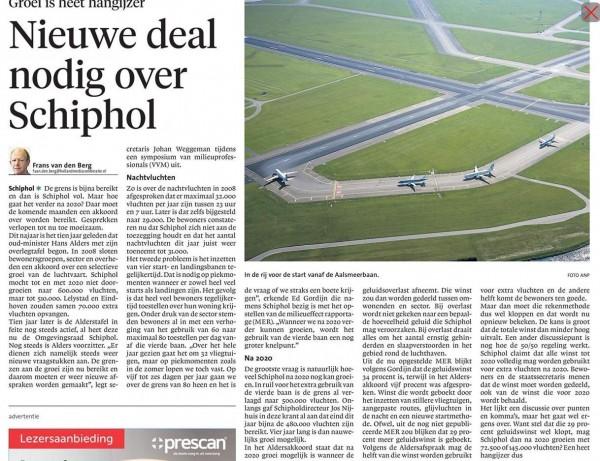 Nieuwe deal nodig over Schiphol