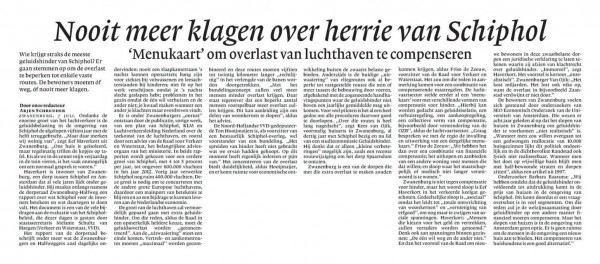 Nooit meer klagen over herrie van Schiphol