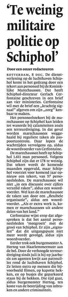 """Te weinig militaire politie op Schiphol"""