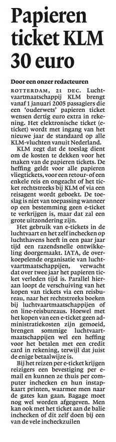 Papieren ticket KLM 30 Euro