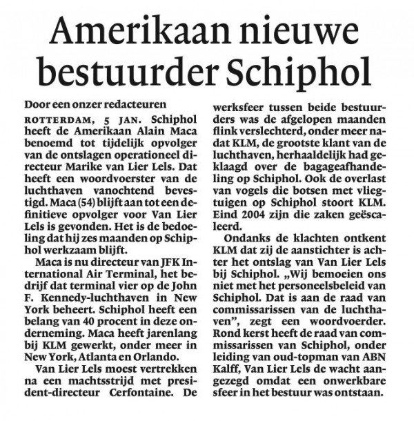 Amerikaan nieuwe bestuurder Schiphol
