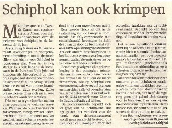 Schiphol kan ook krimpen